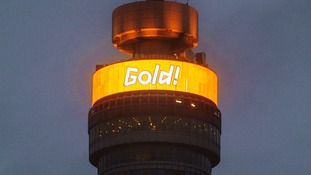 The BT Tower in London illuminated gold to mark Team GB athletes overhauling the number of gold medals won in Beijing