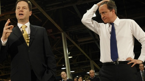 David Cameron and Nick Clegg at a meeting in May