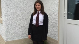 Maya Johnston aged 11 starting S1 at Kirkcudbright Academy today