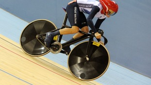 Victoria Pendleton rides in sprint qualifying round at the at the Velodrome in the Olympic Park