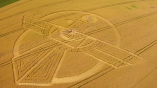 Bird-like crop circle has appeared in a field in Swindon.