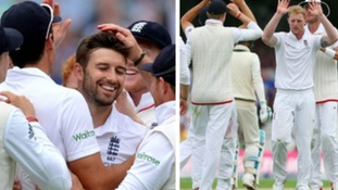 Mark Wood (L) and Ben Stokes (R) celebrating their wickets.