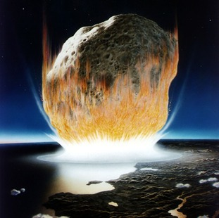 An artist's impression of an asteroid striking Earth.