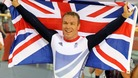 Sir Chris Hoy celebrates winning the Men&#x27;s Keirin final on day eleven of the Olympic Games