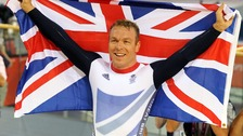 Sir Chris Hoy celebrates winning the Men's Keirin final on day eleven of the Olympic Games
