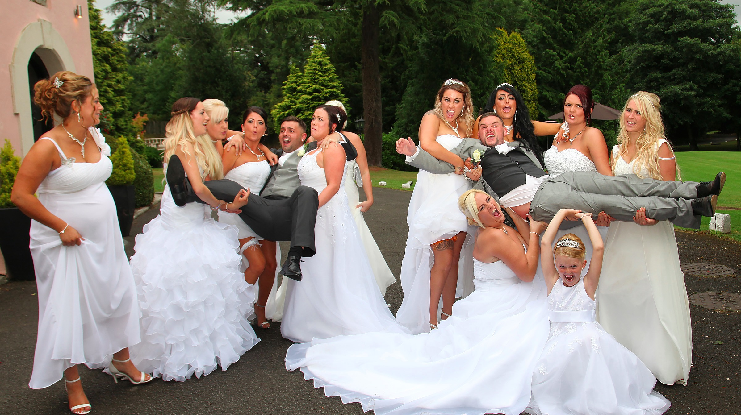 Two grooms ten brides and a wedding to remember
