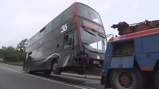 Bus being towed away