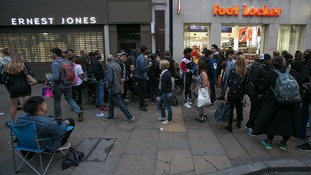 Queues outside the Oxford Street branch of foot locker to buy new trainers from the Kanye West range