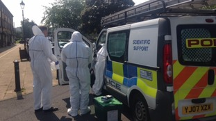 Forensic officers arrive at Golcar