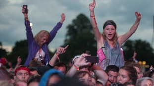 Festival goers on day one of the V Festival at Weston Park.
