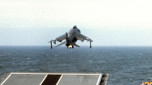 Harrier taking off ship