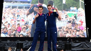 The Brownlee brothers' show off their medals in Hyde Park.