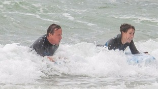 Camerons catch Cornish surf together on holiday