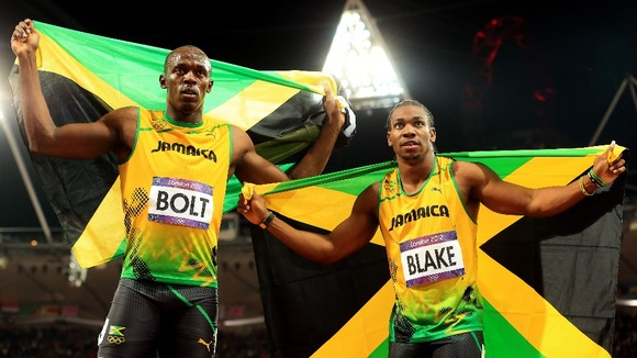 The world's two fastest men, Usain Bolt (left) and Yohan Blake (right).
