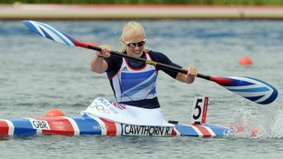 Rachel Cawthorn goes for gold in the canoe sprint on Thursday.