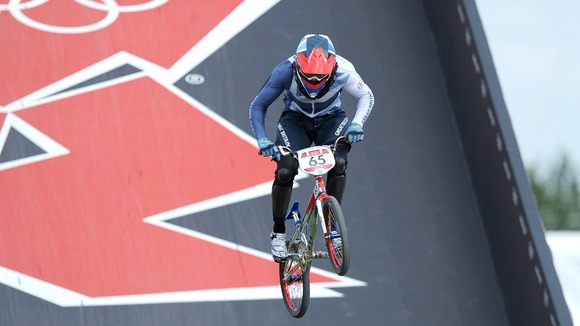 BMX racer Liam Phillips competes in the quarter-final.
