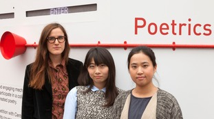 Designers (left to right) Laura Ventura Ricart, Emily Kimura and Yunqi Cai of Poetrics