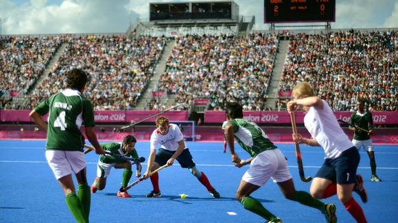 Great Britain's Matt Daly in action against Pakistan.