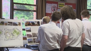 Students look at the provisional plans for the Dumfries Learning Town