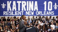 President Obama said there was still work to be done in New Orleans