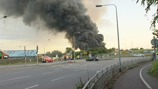 Smoke from the fire could be seen as far away as Tamworth