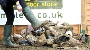 These leftover wellies are now helping those camping outside the French port