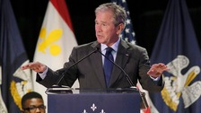 George W Bush speaking at Warren Easton Charter High School