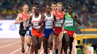 Mo Farah wins gold in 5000m event at the World Championships