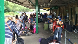 Barnstaple station was busy this afternoon as passengers had been waiting more than three hours for a train to Exeter