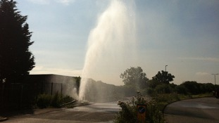 A fire hydrant burst near to the warehouse after overuse
