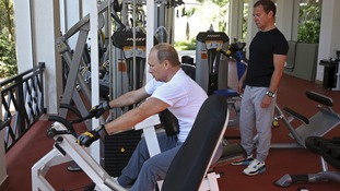 Putin uses gym equipment