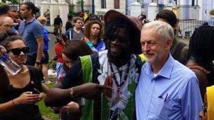 Jeremy Corbyn joins Notting Hill Carnival revellers
