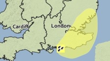 The area covered by a yellow weather warning for heavy rain.