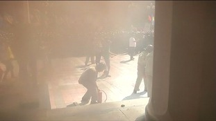Witnesses said several police were knocked off their feet by the blast.