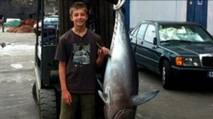 Conor Smith with his 13 stone 5oz tuna fish
