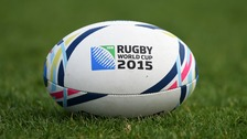 A rugby union ball with Rugby World Cup decals