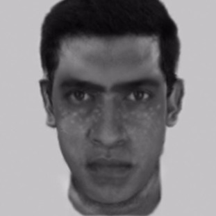 An e-fit of the suspect - a 40-year-old Asian man with pock-marked skin.