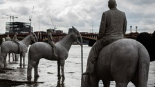 The four horses on the Thames foreshore at Vauxhall.