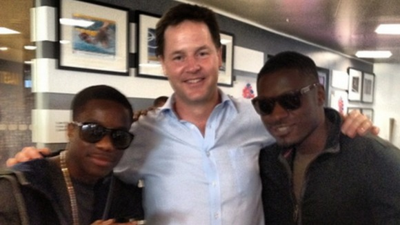 Tinchy Stryder, Deputy Prime Minister Nick Clegg and MC and producer Dirty Dangerous.