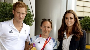 Prince Harry and the Duchess of Cambridge with gold medal winning rower Sophie Hosking.