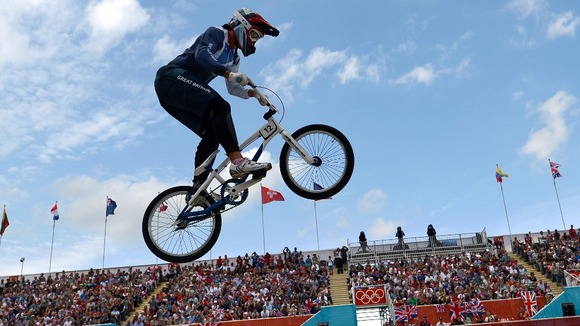 Great Britain's Shanaze Reade during the women's BMX seeding run at the BMX Track.