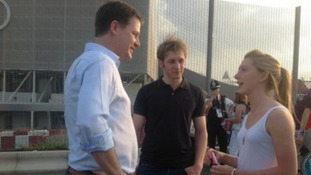 Deputy Prime Minister Nick Clegg meets double Olympic gold medallist Laura Trott.