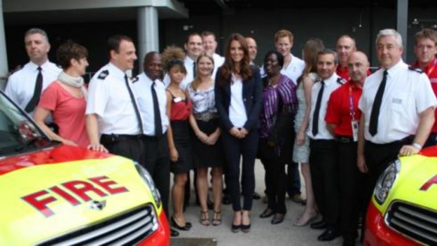 The Duchess of Cambridge meets London Fire Brigade volunteers on the Olympic Park today.