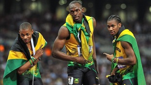 Jamaica's Warren Weir, Usain Bolt and Yohan Blake celebrate.