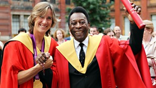 Olympic gold medal winning rower Katherine Grainger, a graduate of the University, stands with former footballer Pele.