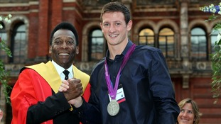 Pele with Great Britain's Michael Jamieson who won a silver medal in the men's 200m breaststroke final at the Games.