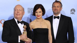 Julian Fellows (left) with actors Elizabeth McGovern and Hugh Bonneville.