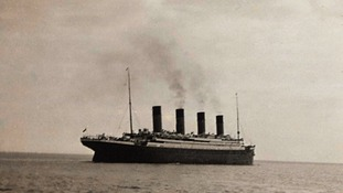 A photograph of the Titanic, believed to be the last known image of the ship.