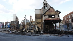 The House of Reeves in Croydon after it was burnt down