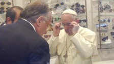 Pope Francis in the opticians